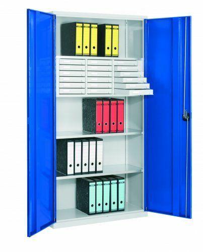 Systemschrank Vollblech  | Modulbox Typ 2   6 offene/12 geschlossene  | 4  | 410 mm | RAL 5010