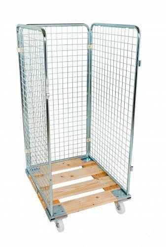 Drahtgitterbehälter 3-seitig 1350mm, 724 x 815mm, Holzrollplatte