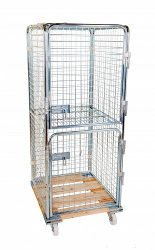 Antidiebstahlbehälter 1600mm, 724 x 815mm, mit klappbarem Zwischenboden, 2 Türen, Holzrollplatte