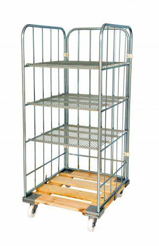 Rollregal mit Stahlrollpalette, 3 Regalböden, 20° Neigung