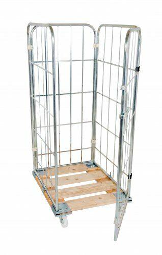 Holzrollpalette 724 x 810 mm, mit 2 Seitengitter, 1 Rückwand, 1 einteilige Vorderwand 1460