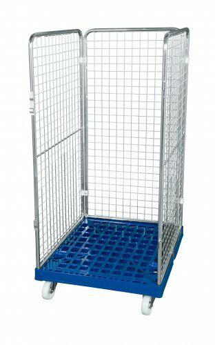 Drahtgitterbehälter 3-seitig 1350 mm, 724 x 815mm, Kunststoffrollplatte