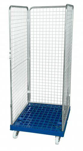 Drahtgitterbehälter 3-seitig 1600mm, 724 x 815mm, Kunststoffrollplatte