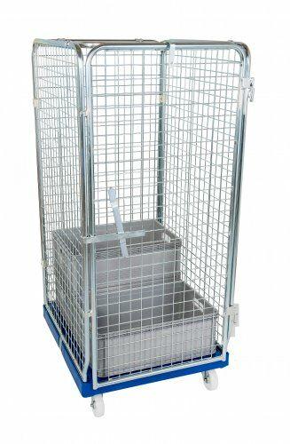 Antidiebstahlbehälter 1600mm, 724 x 815mm, für Transport von Euronom-Boxen, Kunststoffrollplatte