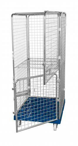 Antidiebstahlbehälter 1600mm, 724 x 815mm, mit klappbarem Zwischenboden, 2 Türen, Kunststoffrollplatte