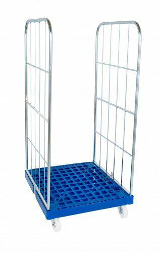 Kunststoffrollplatte mit 2 Seitengitter 1350, blau verzinkt