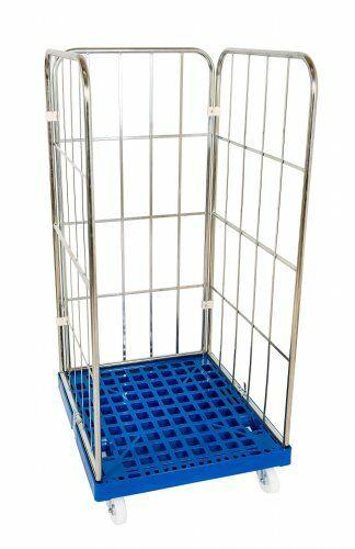 Kunststoffrollplatte mit 2 Seitengitter, 1 Rückwand 1350, blau verzinkt