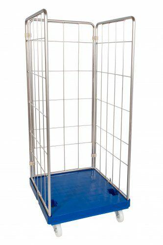 Hygiene-Rollplatte enzianblau mit 3-seitigem Edelstahlaufbau