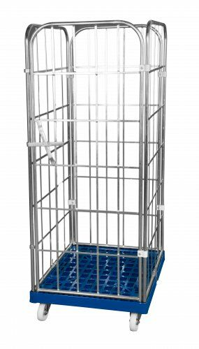 Kunststoffrollplatte mit 2 Seitengitter, 1 Rückwand, 1 einteilige Vorderwand, 1650 blau verzinkt