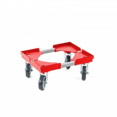 Transportroller 310 x 410 mm, aus Kunststoffecken und Stahlprofil