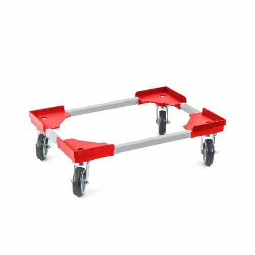 Transportroller 410 x 610 mm, aus Kunststoffecken und Stahlprofil
