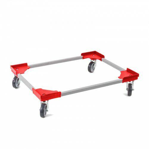 Transportroller 610 x 810 mm, aus Kunststoffecken und Stahlprofil