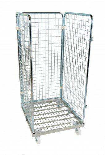 Drahtgitterbehälter 3-seitig 1350mm, 724 x 815mm, Stahlrollplatte