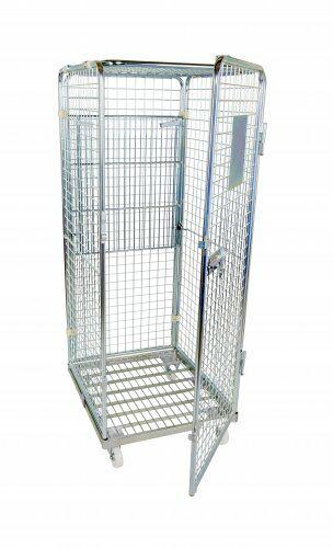 Antidiebstahlbehälter 1600mm, 710 x 800mm mit klappbarem Zwischenboden, Stahlrollplatte