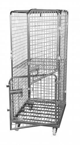 Antidiebstahlbehälter 1600mm, 710 x 800mm, mit klappbarem Zwischenboden, 2 Türen, Stahlrollplatte