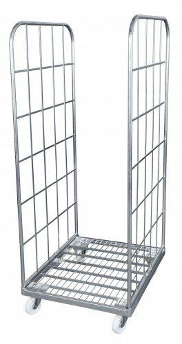 Stahlrollpalette 710 x 800mm, mit 2 Seitengitter 1650