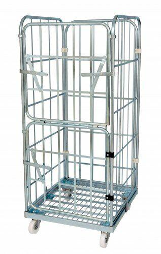 Stahlrollpalette mit 2 Seitengitter, 1 Rückwand, 1 Vorderwand 1460