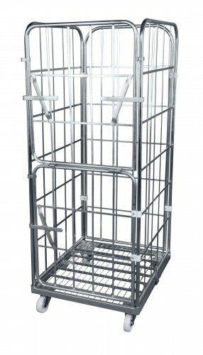 Entsorgungscontainer, mit klappbarer Vorderwand, Stahlrollpalette