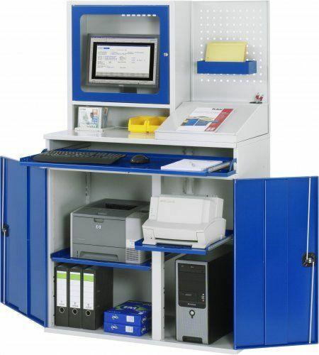 Computer-Schrank mit Monitorgehäuse stationär  | B 1100 mm, Schreibaufsatz, Lochblechrückwand