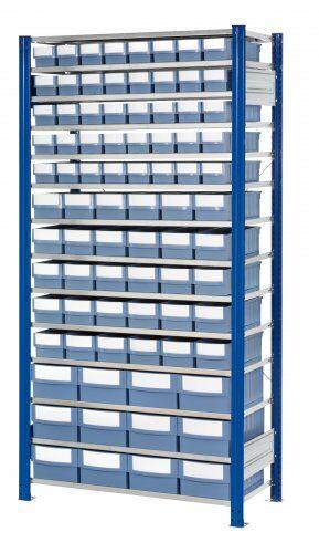 Steckregale mit verschiedenen Volumenregalkästen