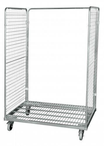 Stahlrollbehälter in Europaletten-Abmessung mit 2 Seitenwänden und Rückwandrahmen