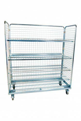 Stahlrollbehälter 620 x 1.500 mm, Höhe 1.700 mm mit 2 Seitenwänden, 1 Rückwand