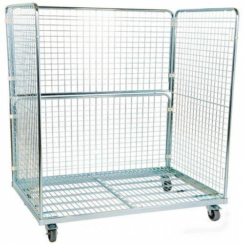 Stahlrollbehälter 800 x 1.600 mm mit 2 Seitenwänden, 1 Rückwand