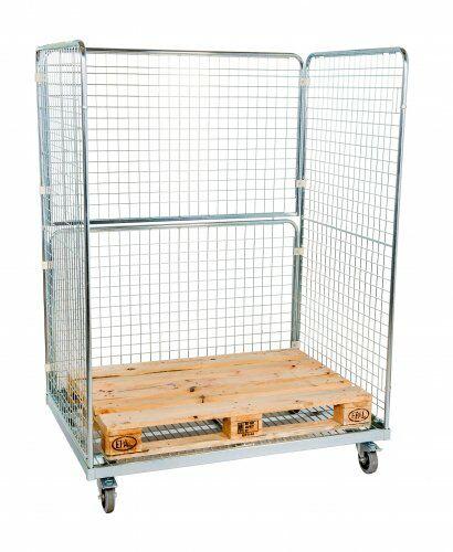 Stahlrollbehälter für EUR-Palette innen, 950 x 1.350 mm, 2 Seitenwänden, 1 Rückwand