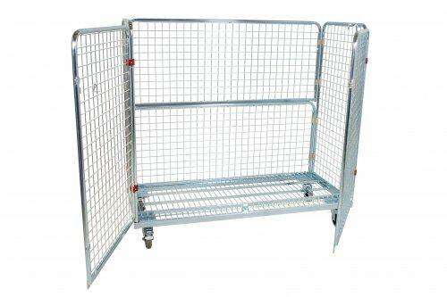 Stahlrollbehälter 620 x 1.500 mm, Höhe 1.400 mm mit 2 Seitenwänden, 1 Rückwand, 2 Türen,