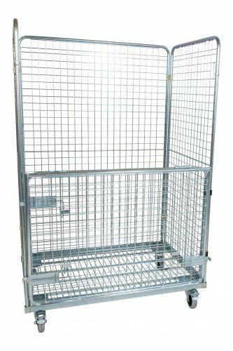 Stahlrollbehälter in Europaletten-Abmessung mit 2 Seitenwänden, 1 Rückwand, 1 klappbare Vorderwand