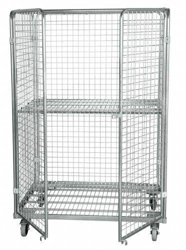 Stahlrollbehälter in Europaletten-Abmessung mit 2 Seitenwänden, 1 Rückwand, 2 Türen
