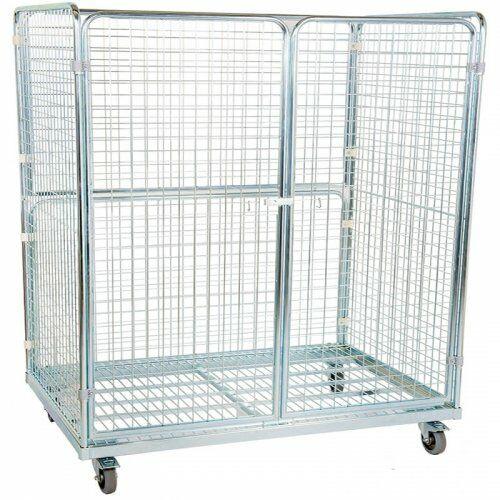 Stahlrollbehälter 800 x 1.600 mm mit 2 Seitenwänden, 1 Rückwand, 2 Türen