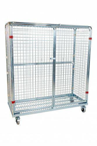 Stahlrollbehälter 620 x 1.500 mm, Höhe 1.700 mm mit 2 Seitenwänden, 1 Rückwand, 2 Türen, 1 Dach