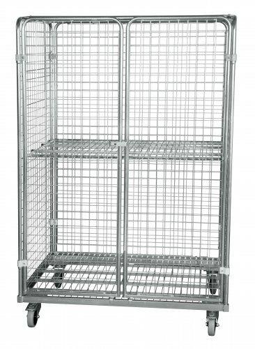 Stahlrollbehälter in Europaletten-Abmessung mit 2 Seitenwänden, 1 Rückwand, 2 Türen, 1 Dach