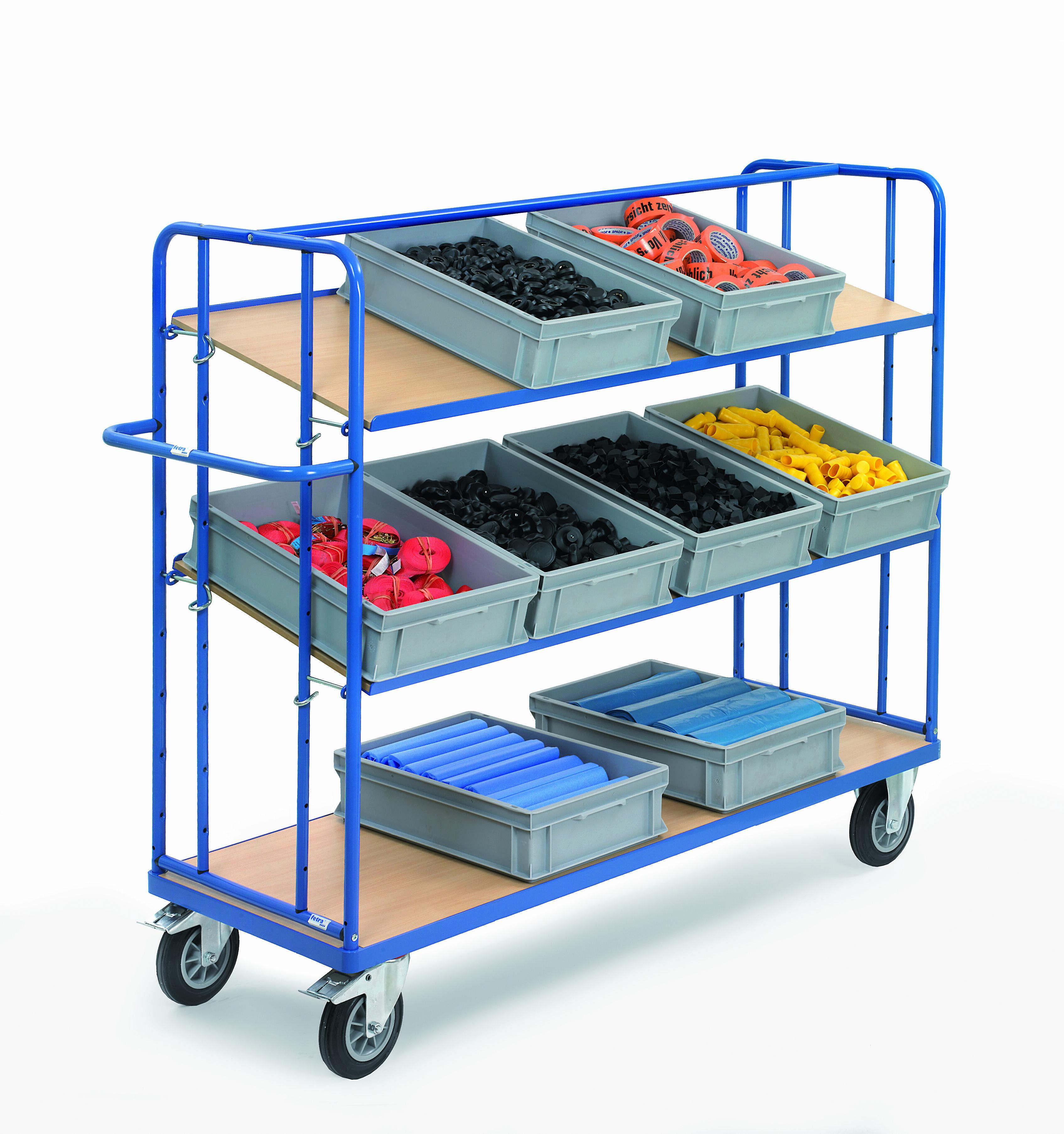etagenwagen mit schr g einh ngbaren holzb den padberg. Black Bedroom Furniture Sets. Home Design Ideas
